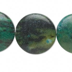 bead, yellow turquoise (dyed / coated), blue, 25-26mm flat round, c grade, mohs hardness 2-1/2 to 6. sold per 15-inch strand.