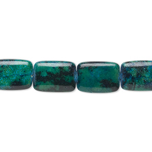 bead, yellow turquoise (dyed / coated), blue and green, 19x18mm-25x24mm flat rectangle, c grade, mohs hardness 2-1/2 to 6. sold per 15-inch strand.