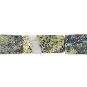bead, yellow turquoise (natural), 13x7mm-21x13mm flat rectangle, f grade, mohs hardness 2-1/2 to 6. sold per 15-inch strand. minimum 5 per order.