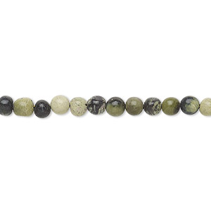 bead, yellow turquoise (natural), 4-5mm hand-cut round, c grade, mohs hardness 2-1/2 to 6. sold per 13-inch strand.
