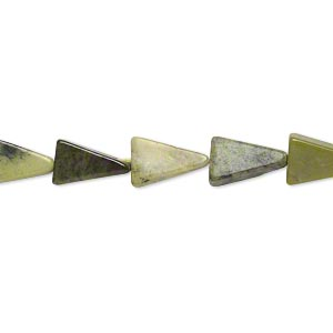 bead, yellow turquoise (natural), 8x8x5mm-11x11x8mm hand-cut flat triangle, c grade, mohs hardness 2-1/2 to 6. sold per 13-inch strand.