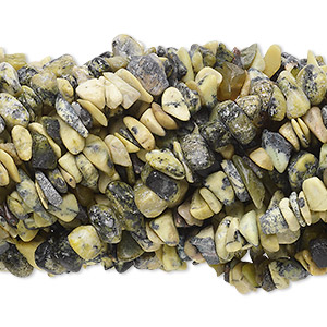 bead, yellow turquoise (natural), medium chip with 0.5-1.5mm hole, mohs hardness 2-1/2 to 6. sold per pkg of (10) 34-inch strands.