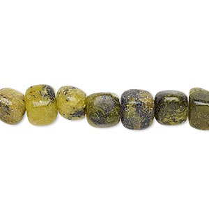 bead, yellow turquoise (natural), small pebble, mohs hardness 2-1/2 to 6. sold per 16-inch strand.