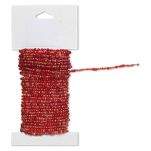 beaded wire, glass and brass, transparent rainbow red, #9 and #6 round seed beads. sold per 15-foot card with hanging tab.
