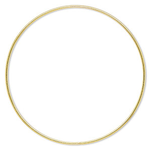 beading hoop, gold-finished steel, 6-inch closed round. sold per pkg of 2.