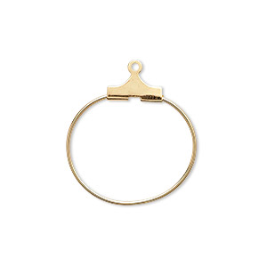 beading hoop, gold-plated brass, 20mm round. sold per pkg of 100.