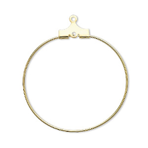 beading hoop, gold-plated brass, 30mm round with loop. sold per pkg of 10.