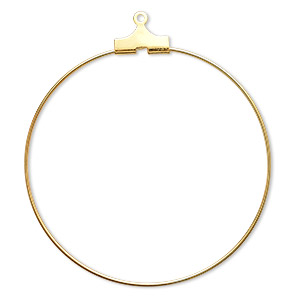 beading hoop, gold-plated brass, 40mm round. sold per pkg of 10.