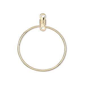 beading hoop, gold-plated steel, 26mm smooth round with closed loop. sold per pkg of 100.