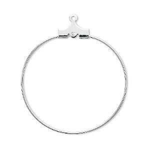 beading hoop, silver-plated brass, 30mm round with loop. sold per pkg of 100.