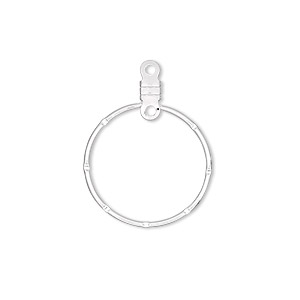 beading hoop, silver-plated steel, 20mm notched round with closed loop. sold per pkg of 100.