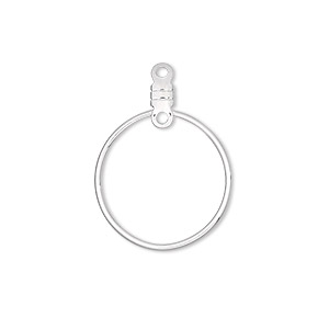 beading hoop, silver-plated steel, 20mm smooth round with closed loop. sold per pkg of 100.