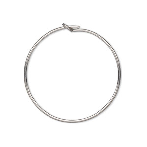 beading hoop, stainless steel, 25mm round. sold per pkg of 10.