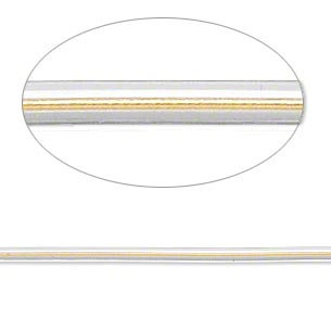 beading wire, accu-cord™, stainless steel and polyurethane, clear and dijon gold, 7 strand, 2mm round. sold per 20-inch strand.