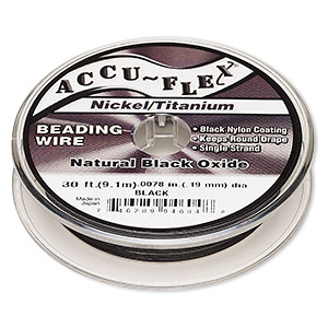 beading wire, accu-flex, nylon / nickel / titanium, black, 1 strand, 0.0078-inch diameter. sold per 30-foot spool.