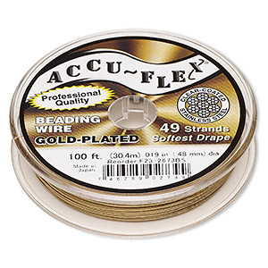 beading wire, accu-flex, nylon and 24kt gold-plated stainless steel, clear, 49 strand, 0.019-inch diameter. sold per 100-foot spool.