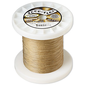 beading wire, accu-flex, nylon and 24kt gold-plated stainless steel, clear, 49 strand, 0.014-inch diameter. sold per 1,000-foot spool.