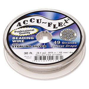 beading wire, accu-flex, nylon and .925 sterling silver, clear, 49 strand, 0.019-inch diameter. sold per 30-foot spool.