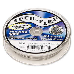 beading wire, accu-flex, nylon and .925 sterling silver, clear, 49 strand, 0.024-inch diameter. sold per 30-foot spool.