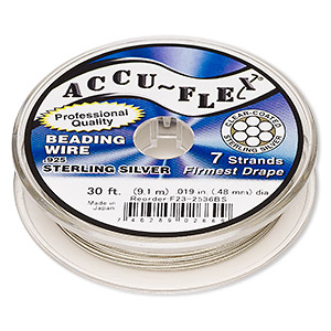 beading wire, accu-flex, nylon and .925 sterling silver, clear, 7 strand, 0.019-inch diameter. sold per 30-foot spool.