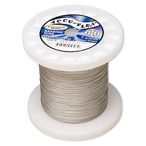 beading wire, accu-flex, nylon and .925 sterling silver, clear, 7 strand, 0.014-inch diameter. sold per 1,000-foot spool.