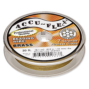 beading wire, accu-flex, nylon and brass, clear, 7 strand, 0.012-inch diameter. sold per 30-foot spool.