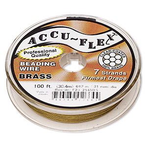 beading wire, accu-flex, nylon and brass, clear, 7 strand, 0.012-inch diameter. sold per 100-foot spool.
