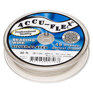 beading wire, accu-flex, nylon and silver-plated stainless steel, clear, 49 strand, 0.024-inch diameter. sold per 30-foot spool.