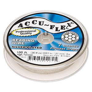 beading wire, accu-flex, nylon and silver-plated stainless steel, clear, 7 strand, 0.0083-inch diameter. sold per 100-foot spool.