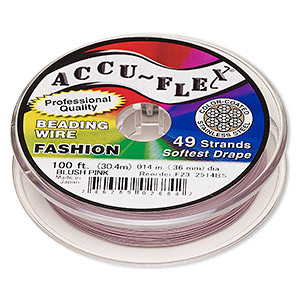 beading wire, accu-flex, nylon and stainless steel, blush pink, 49 strand, 0.014-inch diameter. sold per 100-foot spool.