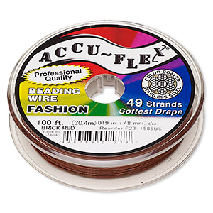 beading wire, accu-flex, nylon and stainless steel, brick red, 49 strand, 0.019-inch diameter. sold per 100-foot spool.