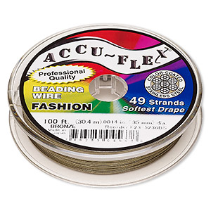 beading wire, accu-flex, nylon and stainless steel, bronze, 49 strand, 0.014-inch diameter. sold per 100-foot spool.