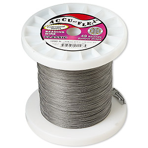 beading wire, accu-flex, nylon and stainless steel, clear, 49 strand, 0.019-inch diameter. sold per 1,000-foot spool.
