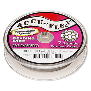 beading wire, accu-flex, nylon and stainless steel, clear, 7 strand, 0.007-inch diameter. sold per 30-foot spool.