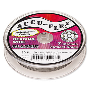 beading wire, accu-flex, nylon and stainless steel, clear, 7 strand, 0.0095-inch diameter. sold per 30-foot spool.