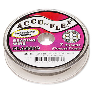 beading wire, accu-flex, nylon and stainless steel, clear, 7 strand, 0.014-inch diameter. sold per 30-foot spool.