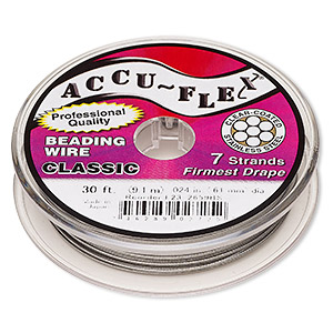 beading wire, accu-flex, nylon and stainless steel, clear, 7 strand, 0.024-inch diameter. sold per 30-foot spool.