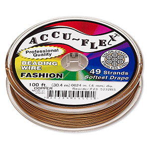 beading wire, accu-flex, nylon and stainless steel, copper, 49 strand, 0.024-inch diameter. sold per 100-foot spool.