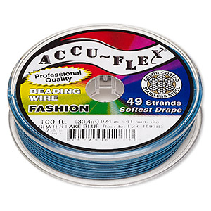 beading wire, accu-flex, nylon and stainless steel, crater lake blue, 49 strand, 0.024-inch diameter. sold per 100-foot spool.