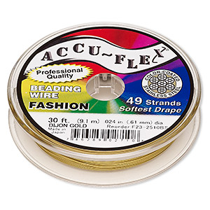 beading wire, accu-flex, nylon and stainless steel, dijon gold, 49 strand, 0.024-inch diameter. sold per 30-foot spool.