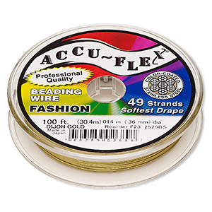 beading wire, accu-flex, nylon and stainless steel, dijon gold, 49 strand, 0.014-inch diameter. sold per 100-foot spool.