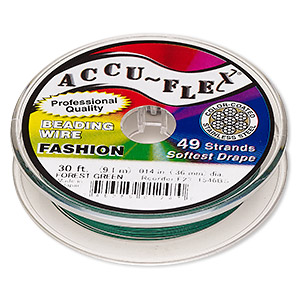 beading wire, accu-flex, nylon and stainless steel, forest green, 49 strand, 0.014-inch diameter. sold per 30-foot spool.