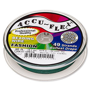 beading wire, accu-flex, nylon and stainless steel, forest green, 49 strand, 0.019-inch diameter. sold per 30-foot spool.