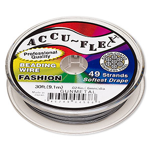 beading wire, accu-flex, nylon and stainless steel, gunmetal, 49 strand, 0.024-inch diameter. sold per 30-foot spool.