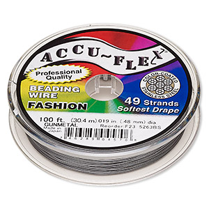 beading wire, accu-flex, nylon and stainless steel, gunmetal, 49 strand, 0.019-inch diameter. sold per 100-foot spool.