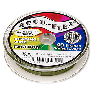 beading wire, accu-flex, nylon and stainless steel, khaki, 49 strand, 0.024-inch diameter. sold per 30-foot spool.