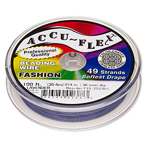 beading wire, accu-flex, nylon and stainless steel, lavender, 49 strand, 0.014-inch diameter. sold per 100-foot spool.