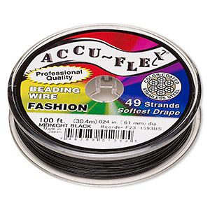 beading wire, accu-flex, nylon and stainless steel, midnight black, 49 strand, 0.024-inch diameter. sold per 100-foot spool.