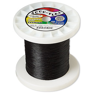 beading wire, accu-flex, nylon and stainless steel, midnight black, 49 strand, 0.014-inch diameter. sold per 1,000-foot spool.