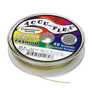 beading wire, accu-flex, nylon and stainless steel, olive green, 49 strand, 0.024-inch diameter. sold per 30-foot spool.